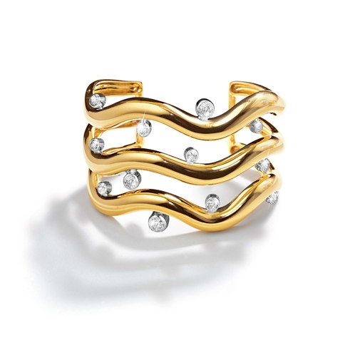 Belperron-Jewelry-Triple-Wave-Diamond-Yellow-Gold-Cuff