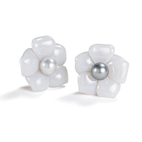 Belperron-Jewelry-Fleur-Earclips-White-Chalcedony-South-Sea-and-Tahitian-Pearl
