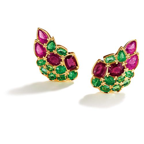 Belperron-Jewelry-Serti-Couteau-Rubellite-Tsavorite-Garnet-Earclip